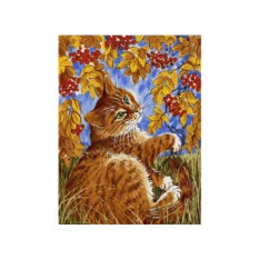 Картина по номерам «Кот с рябиной»