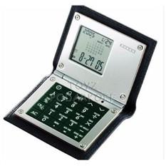 Калькулятор-часы-будильник в кожаном чехле