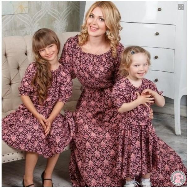 Парные платья для мамы и дочки Елена