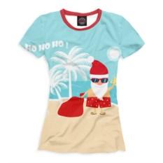 Женская футболка Дед Мороз на пляже