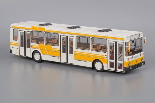 Модель автобуса ЛиАЗ-5256 (бело-желтый)