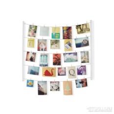 Белое панно с зажимами для 40 фотографий Hangit