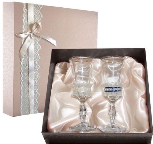Набор свадебных бокалов в подарочной коробке Ретро №7