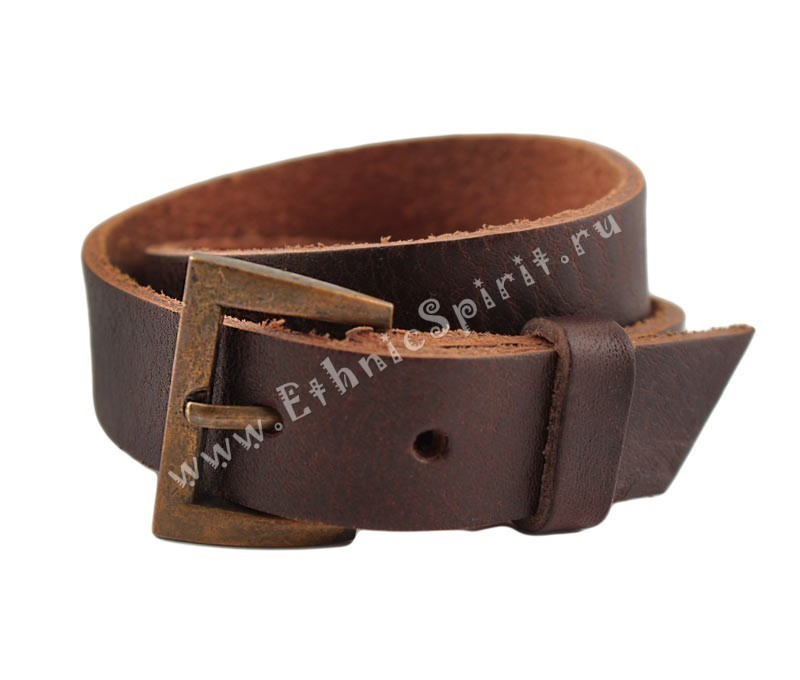 Коричневый кожаный браслет-ремень в два обхвата