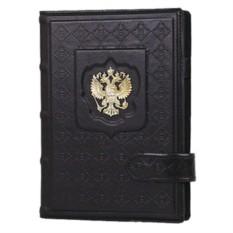 Черный кожаный ежедневник Россия с гербом