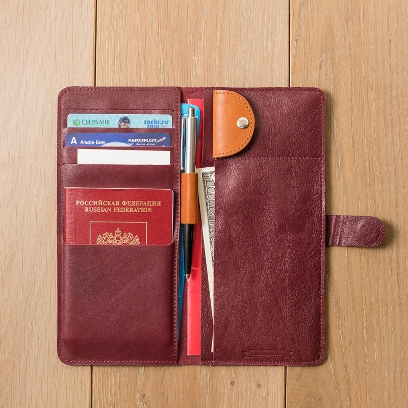 Кожаный бордовый холдер для документов Hyper Keeper