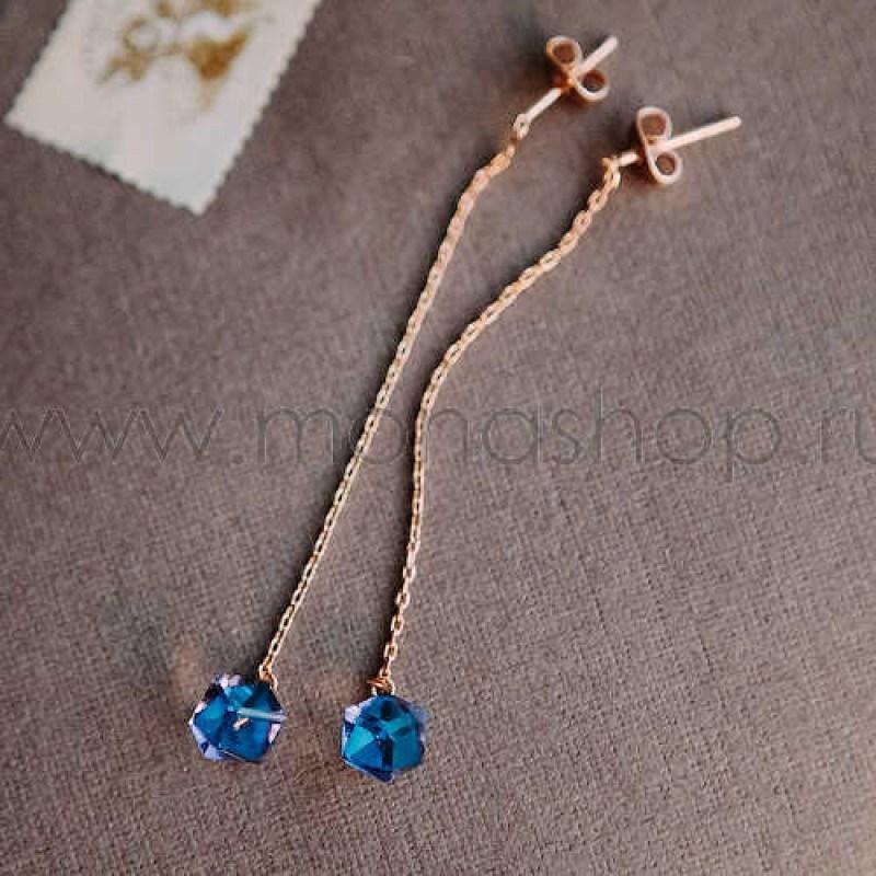 Серьги с синими камнями Сваровски Летнее настроение