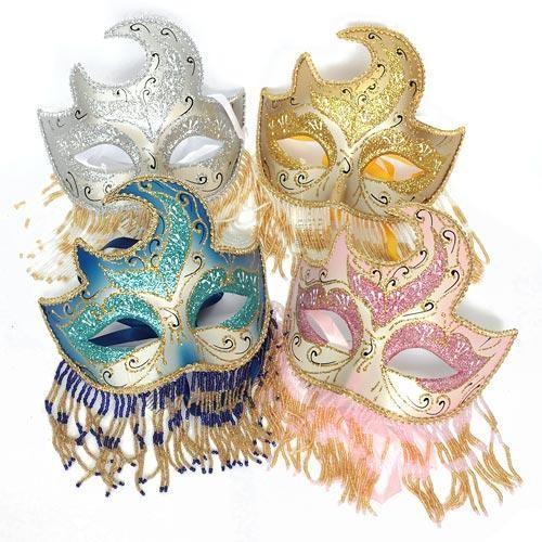 Маска карнавальная с бисерной тесьмой