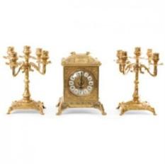 Золотистые каминные часы и 2 канделябра на 5 свечей Ларец