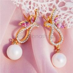Серьги с жемчугом и розовыми кристаллами Сваровски Золушка