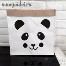 Эко-мешок для игрушек из крафт бумаги Забавный панда