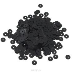 Плоские пайетки Астра, черные, 6 мм