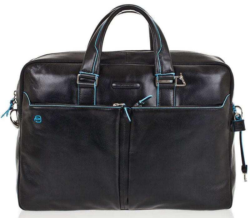 Черная кожаная сумка для ноутбука Piquadro Blue Square