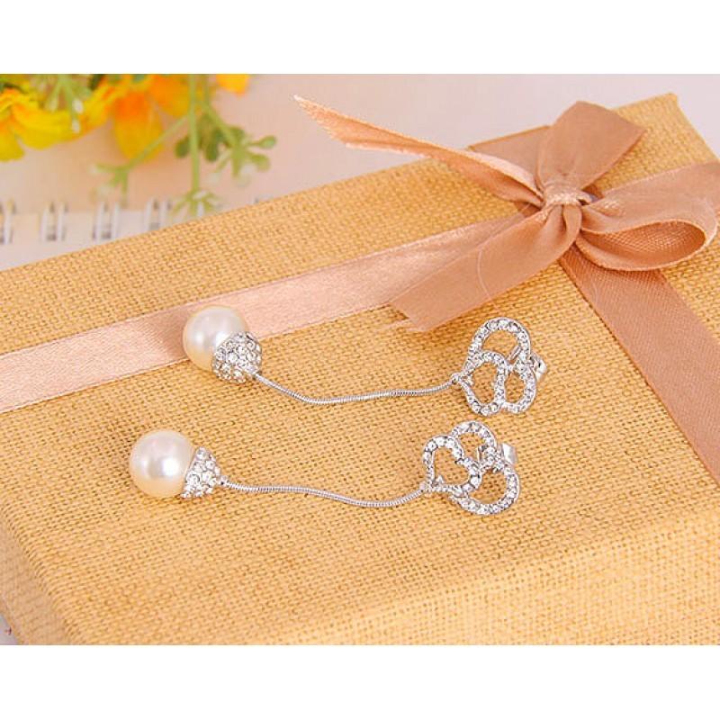 Серьги с кристаллами Сваровски и жемчугом «Невеста»
