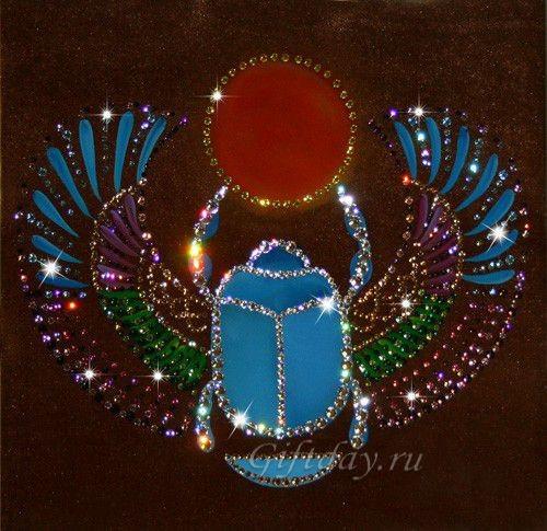Картина с кристаллами Сваровски Скарабей