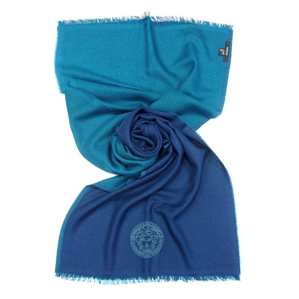 Двухцветный шарф в синих тонах вышивкой Versace