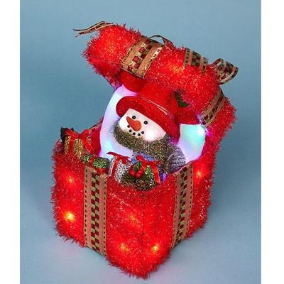 Подарок  красный малый со снговичком