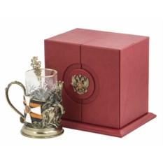 Набор для чая Георгий-Победоносец (кожаный футляр, бронза)