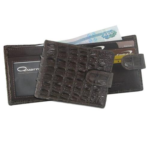 Мужской кошелек из кожи крокодила Тренд с хлястиком