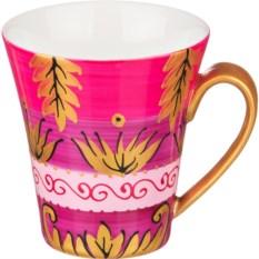 Розовая кружка Золотые листья с ручной росписью