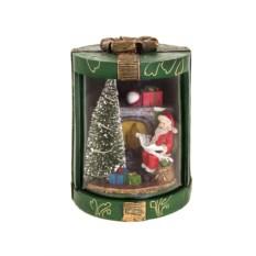 Светящееся новогоднее украшение Дед Мороз у камина