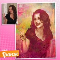 Портрет молодой девушки в стиле Гранж на холсте по фото