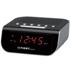 Черные радиочасы First 0.6 LED красный, AM/FM