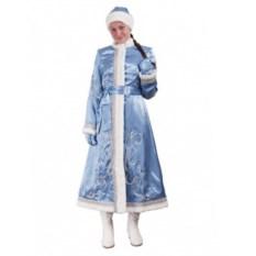 Длинный приталенный костюм Снегурочки из креп-сатина
