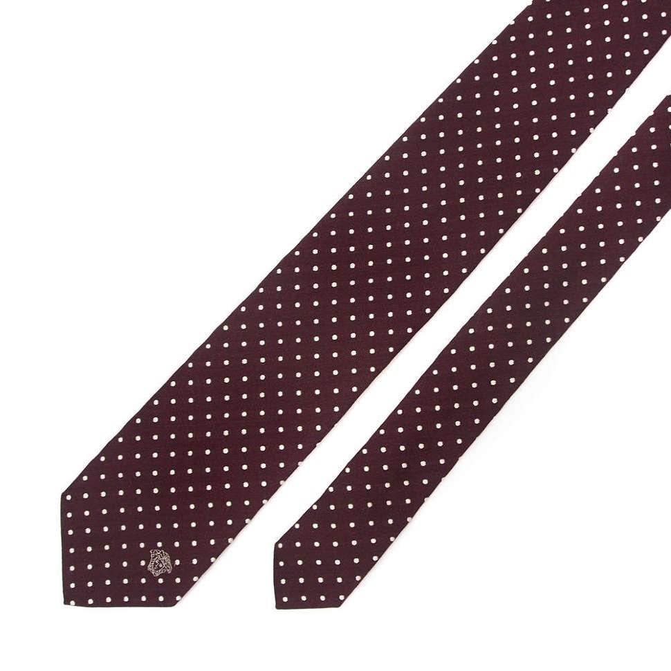 Темно-бордовый мужской галстук в горох Versace