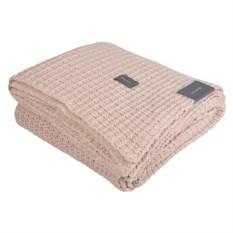 Розовый плед из хлопка Gant Home Melange Waffle-Knit