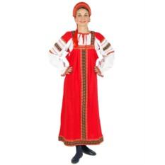 Русский народный костюм: красный льняной комплект Забава