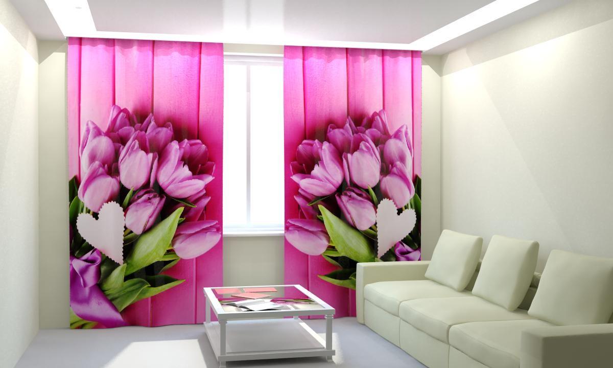 Фотошторы Букеты розовых тюльпанов