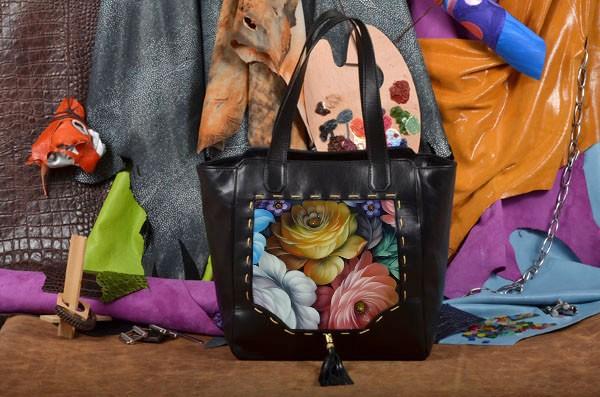 Сумка-шопер Цветы Хохломы Elole Design из натуральной кожи