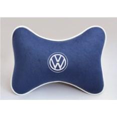 Подушка на подголовник из синего велюра Volkswagen