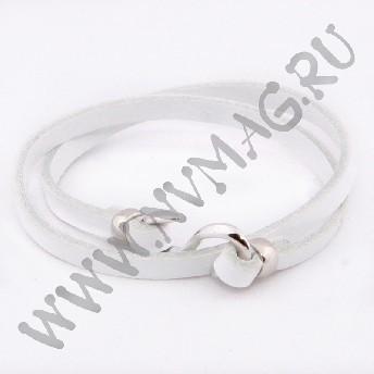 Кожаный браслет, белый