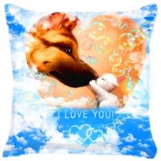 Подушка Собака и котенок