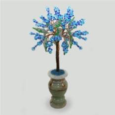 Дерево любви из аквамарина в вазочке из оникса