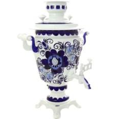Электрический самовар с росписью Гжель (на 3 литра)