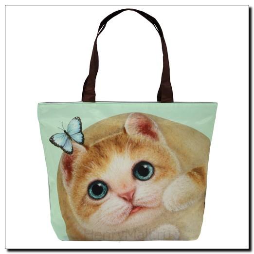 Легкая женская сумка с изображением котенка Миго