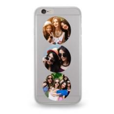 Чехол для iPhone с 3 вашими фото «Круглый коллаж»