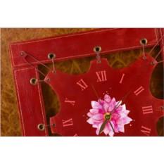 Часы из кожи Яркий цветок (темно-красный)