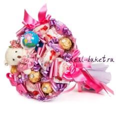 Розово-сиреневый букет из конфет Первоклашка