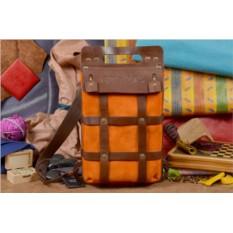 Коричнево-оранжевый кожаный рюкзак ручной работы TESLA