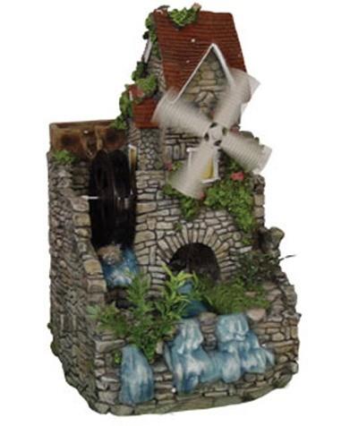 Декоративный фонтан Домик с ветряной и водяной мельницей