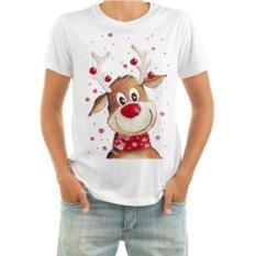 Мужская новогодняя футболка Олень с ёлочными шариками