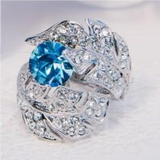 Кольцо с голубым кристаллом Сваровски «Перо Жар-Птицы»