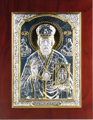Икона Николая Чудотворца с позолотой, матовая
