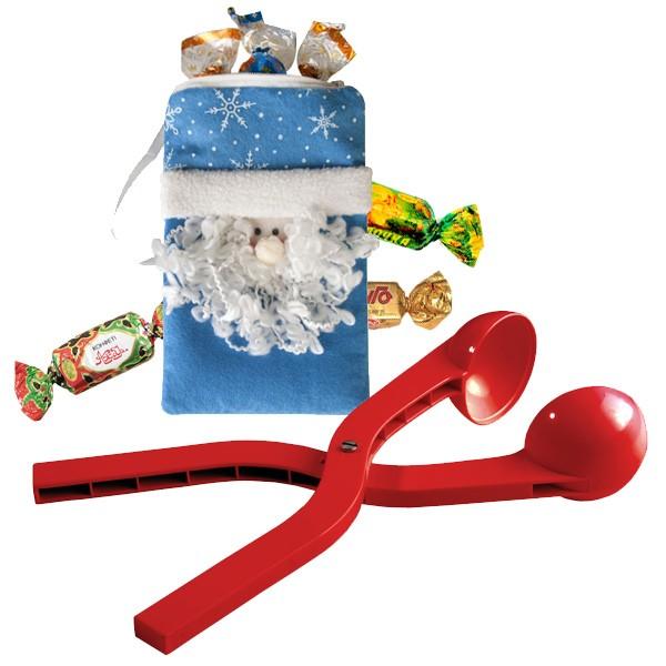 Новогодний набор (сумочка Дед Мороз, снежколеп, леденцы)