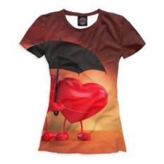 Женская футболка Сердечки под зонтом