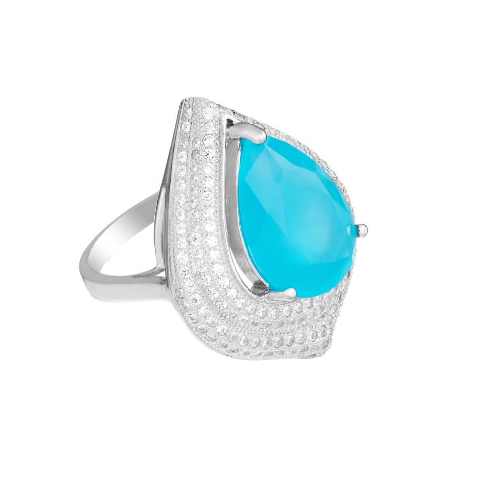 Кольцо серебряное с ювелирным стеклом и фианитами